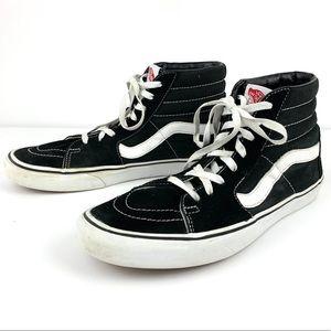 Vans SK-8 Hi Black & White Canvas Suede Sneakers